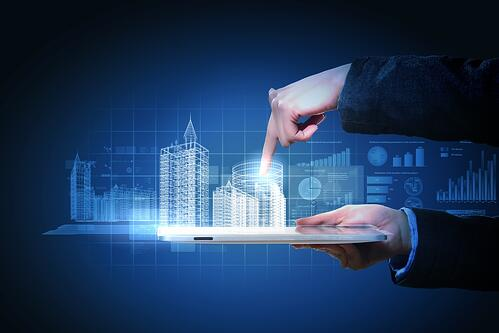 Engineering automation building designing. Construction industry technology